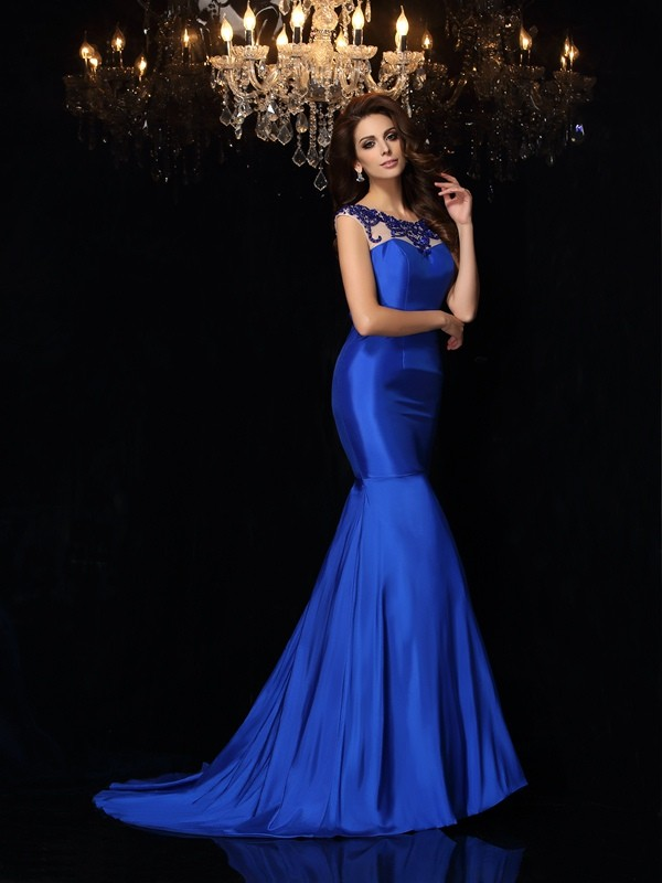Trumpet/Mermaid Bateau Applique Sleeveless Long Taffeta Dresses
