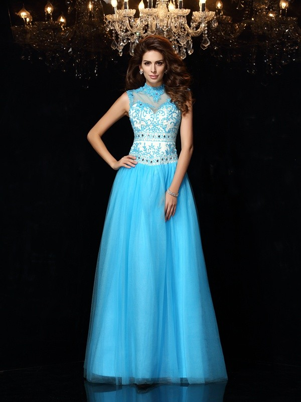 A-Line/Princess High Neck Applique Sleeveless Long Satin Dresses