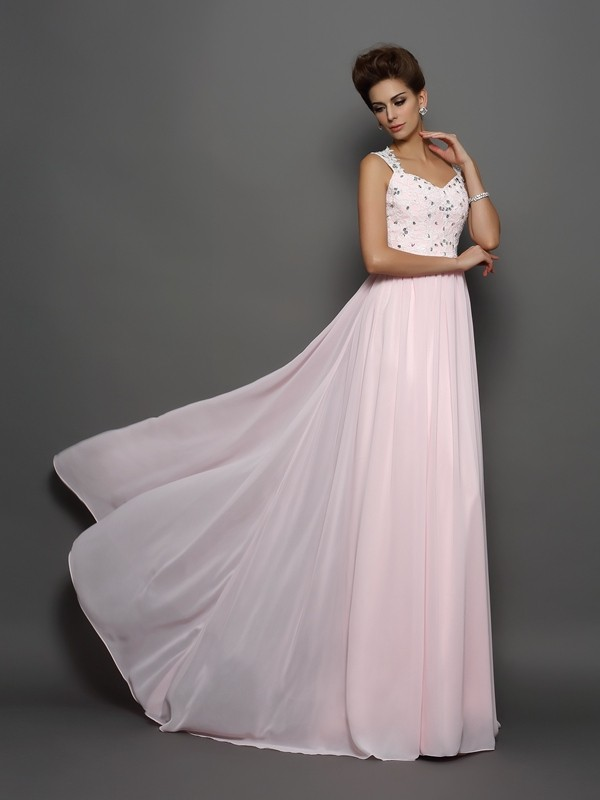 A-Line/Princess Straps Beading Sleeveless Applique Long Chiffon Dresses