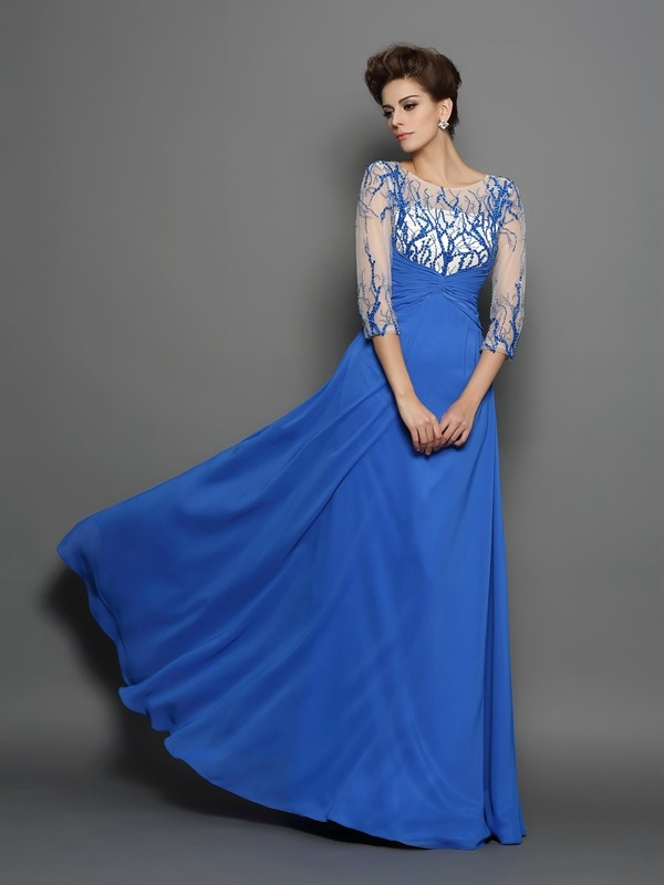 A-Line/Princess Scoop Applique 1/2 Sleeves Long Chiffon Dresses
