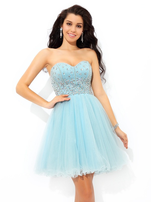 A-Line/Princess Sweetheart Beading Short Sleeveless Satin Cocktail Dresses