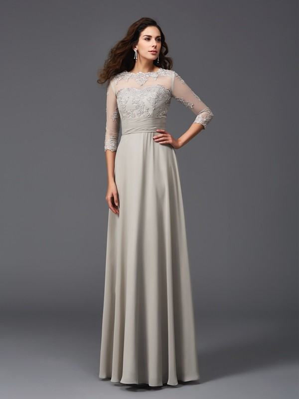 A-Line/Princess Scoop Applique 3/4 Sleeves Long Chiffon Dresses