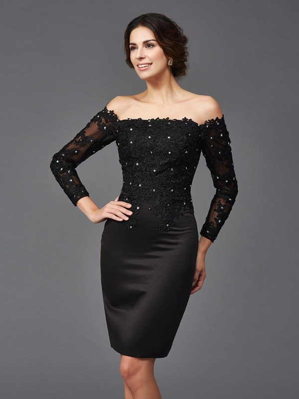 Sheath/Column Off-the-Shoulder Lace Long Sleeves Short Satin Mother of the Bride Dresses