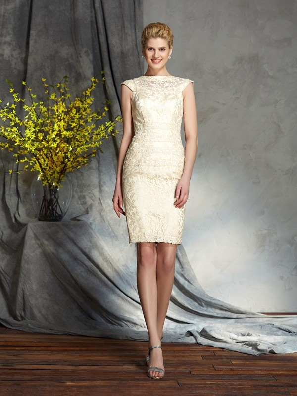 Sheath/Column Bateau Short Sleeves Short Elastic Woven Satin Mother of the Bride Dresses
