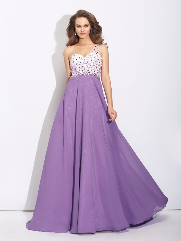 A-Line/Princess One-Shoulder Crystal Sleeveless Long Chiffon Dresses