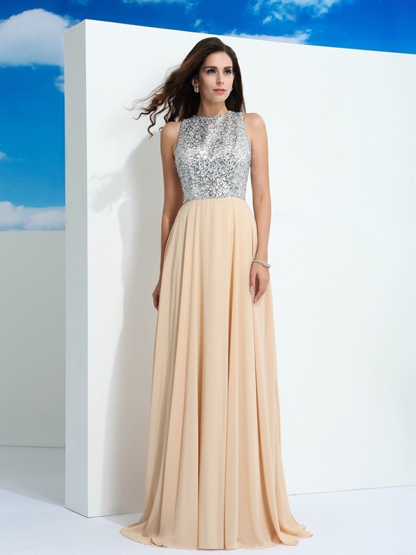 A-Line/Princess Scoop Paillette Sleeveless Long Chiffon Dresses