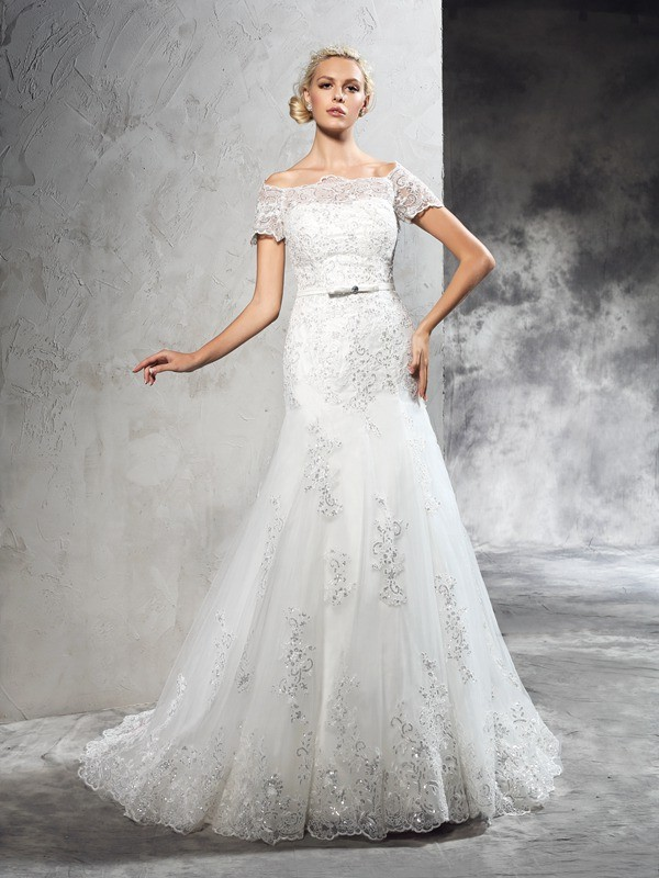 Sheath/Column Off-the-Shoulder Applique Short Sleeves Long Net Wedding Dresses