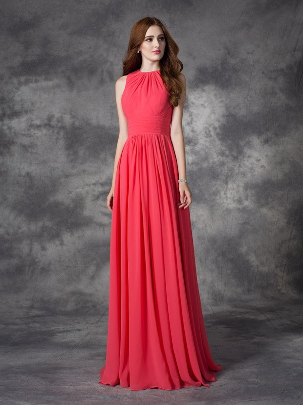 A-line/Princess Jewel Ruffles Sleeveless Long Chiffon Bridesmaid Dresses