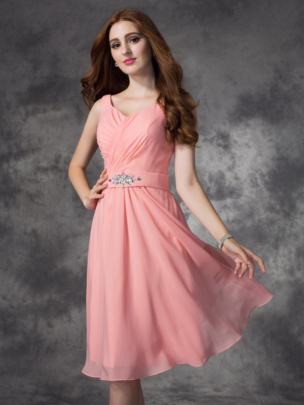 A-line/Princess Straps Rhinestone Sleeveless Short Chiffon Bridesmaid Dresses