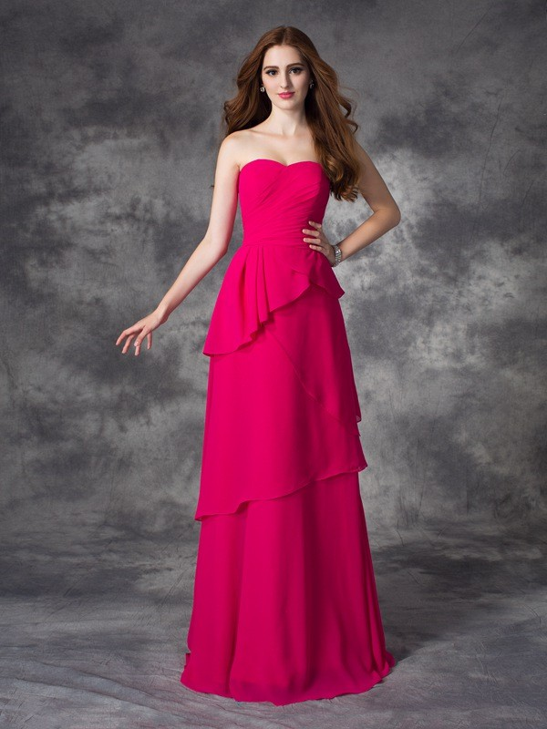 A-line/Princess Sweetheart Layers Sleeveless Long Chiffon Bridesmaid Dresses