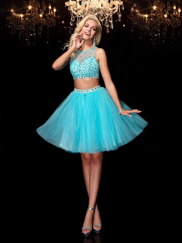 A-Line/Princess Scoop Rhinestone Sleeveless Short Net Dresses