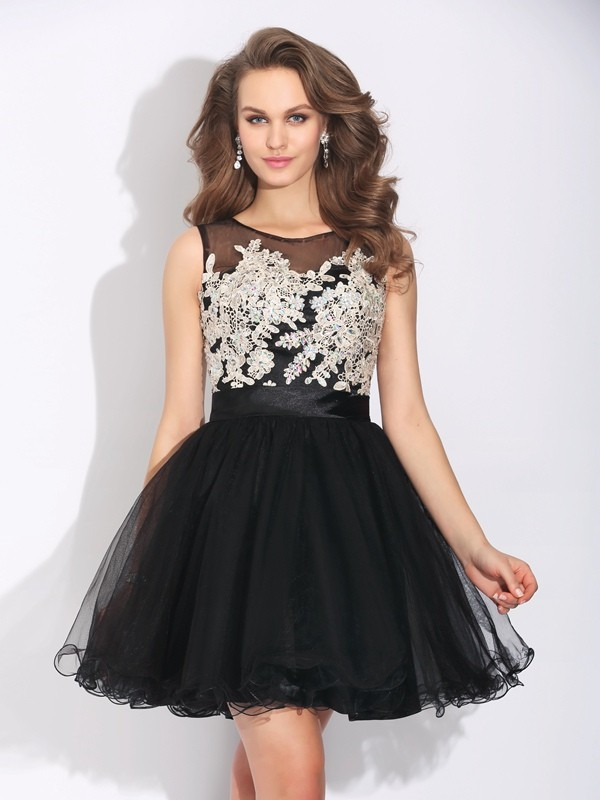 A-Line/Princess Scoop Ruffles Sleeveless Short Net Dresses
