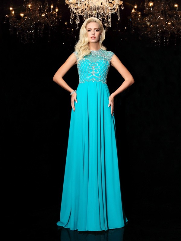 A-Line/Princess Jewel Lace Short Sleeves Long Chiffon Dresses