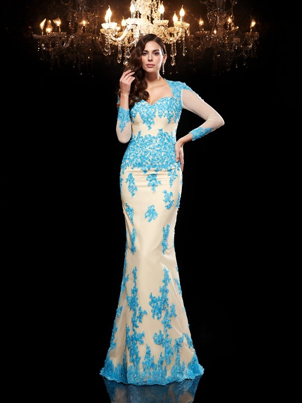 Trumpet/Mermaid Sweetheart Applique 3/4 Sleeves Long Net Dresses