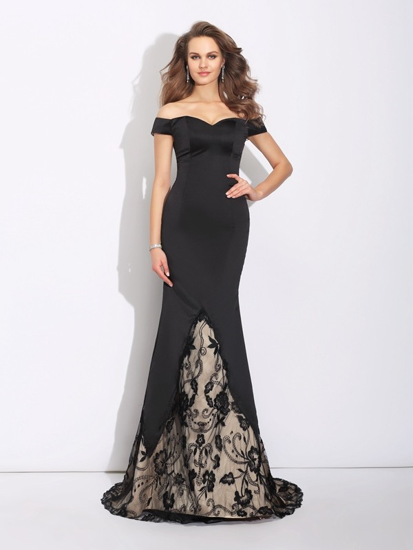 Trumpet/Mermaid Off-the-Shoulder Lace Sleeveless Long Satin Dresses
