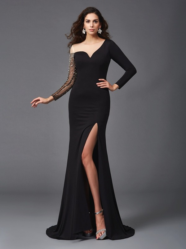 Sheath/Column Scoop Beading 3/4 Sleeves Long Spandex Dresses