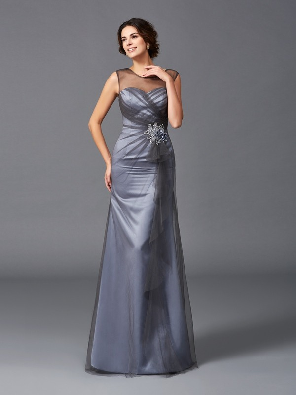 Sheath/Column Scoop Beading Sleeveless Long Net Mother of the Bride Dresses