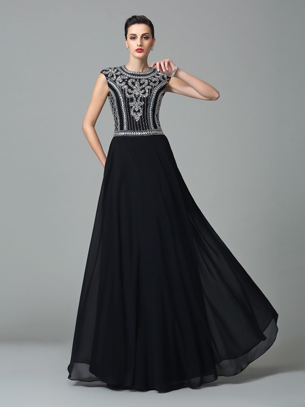 A-Line/Princess Jewel Beading Short Sleeves Long Chiffon Dresses