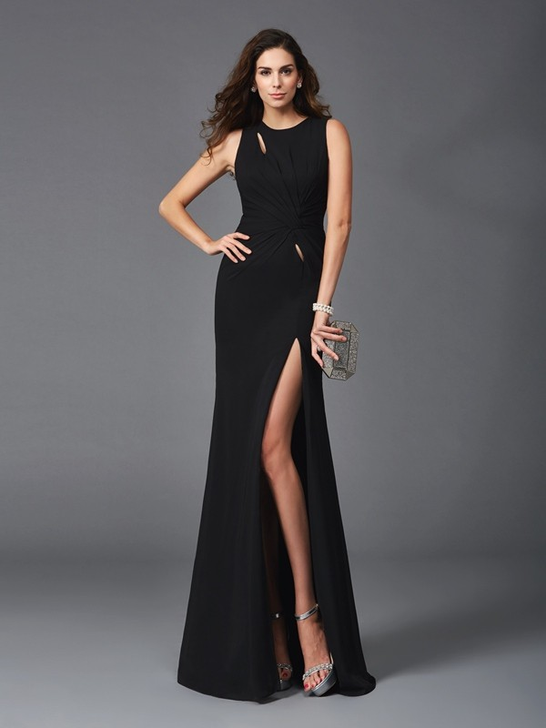 Sheath/Column Scoop Beading Sleeveless Long Chiffon Dresses