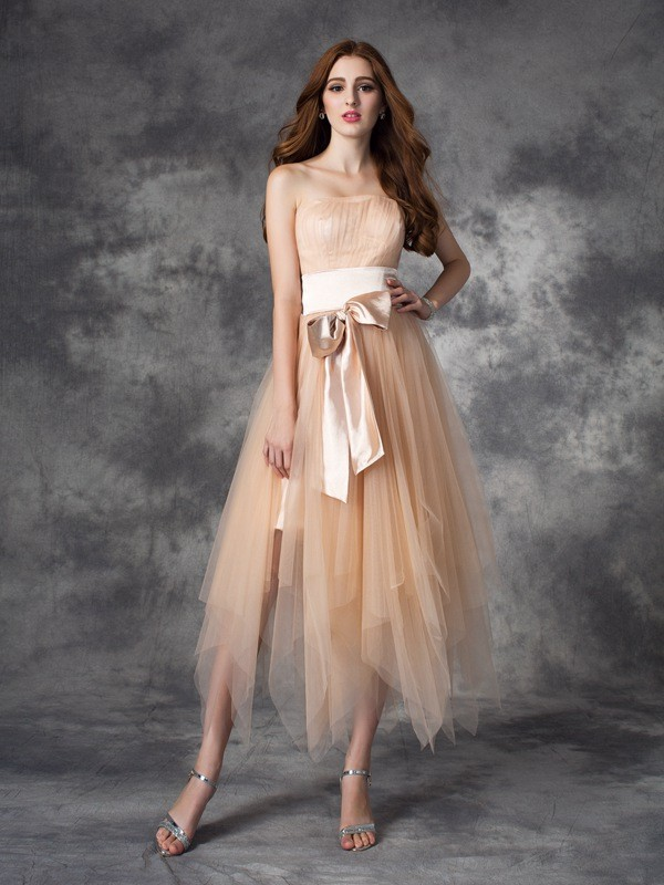 A-line/Princess Strapless Bowknot Sleeveless Long Elastic Woven Satin Dresses