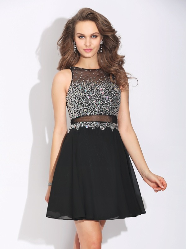 A-Line/Princess Jewel Beading Sleeveless Short Chiffon Dresses