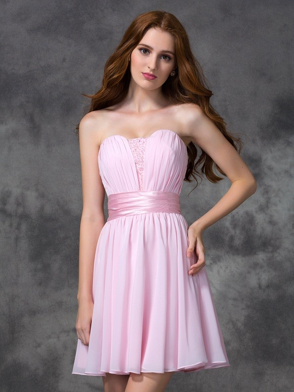 A-line/Princess Sweetheart Ruched Sleeveless Short Chiffon Dresses