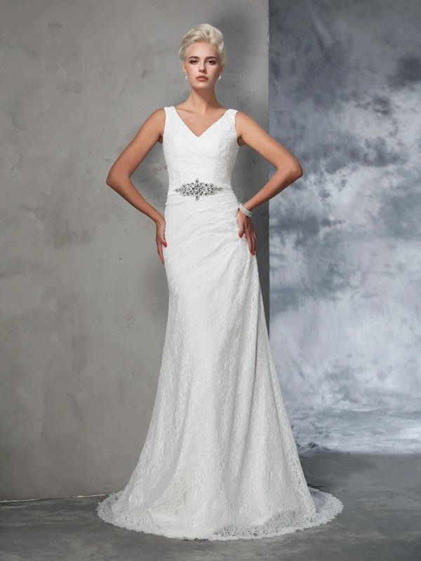 Trumpet/Mermaid V-neck Lace Sleeveless Long Lace Wedding Dresses