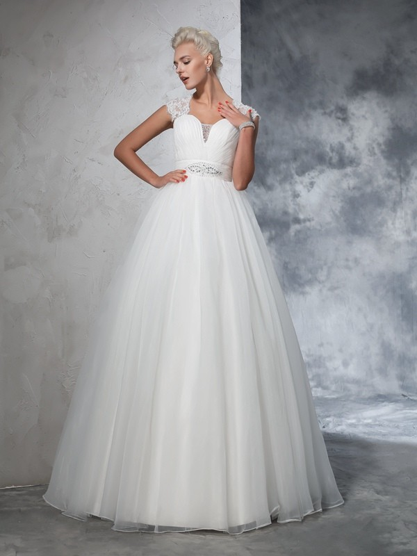 Ball Gown Sweetheart Ruched Sleeveless Long Tulle Wedding Dresses