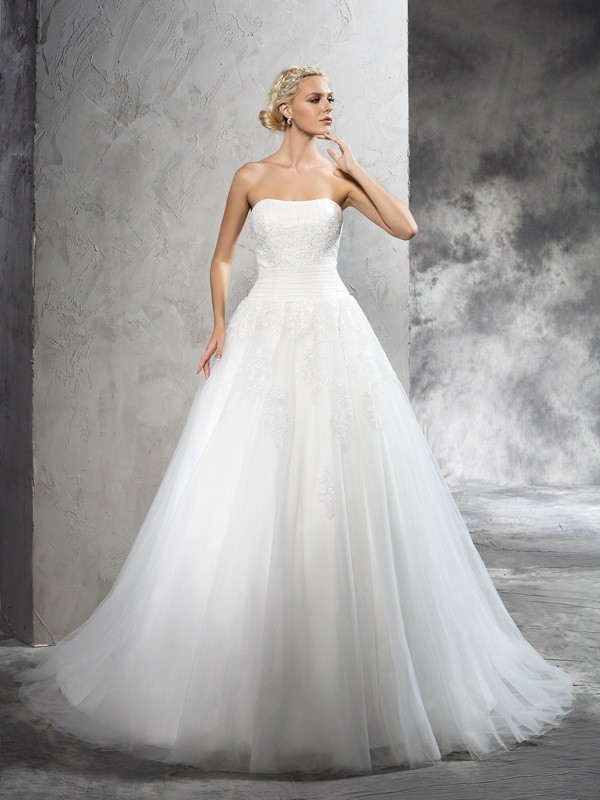 Ball Gown Strapless Applique Sleeveless Long Satin Wedding Dresses