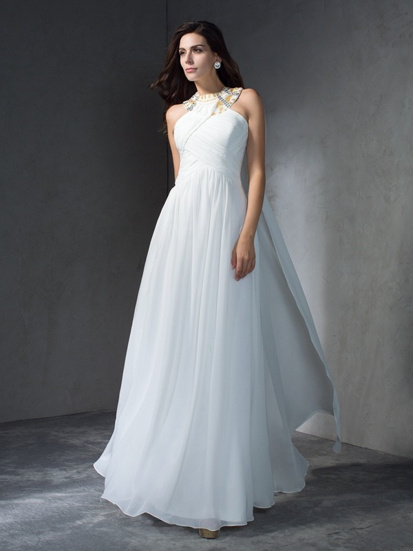 A-Line/Princess Jewel Beading Sleeveless Long Chiffon Dresses