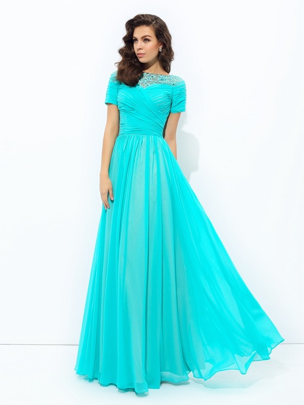 A-line/Princess Bateau Lace Short Sleeves Long Chiffon Dresses