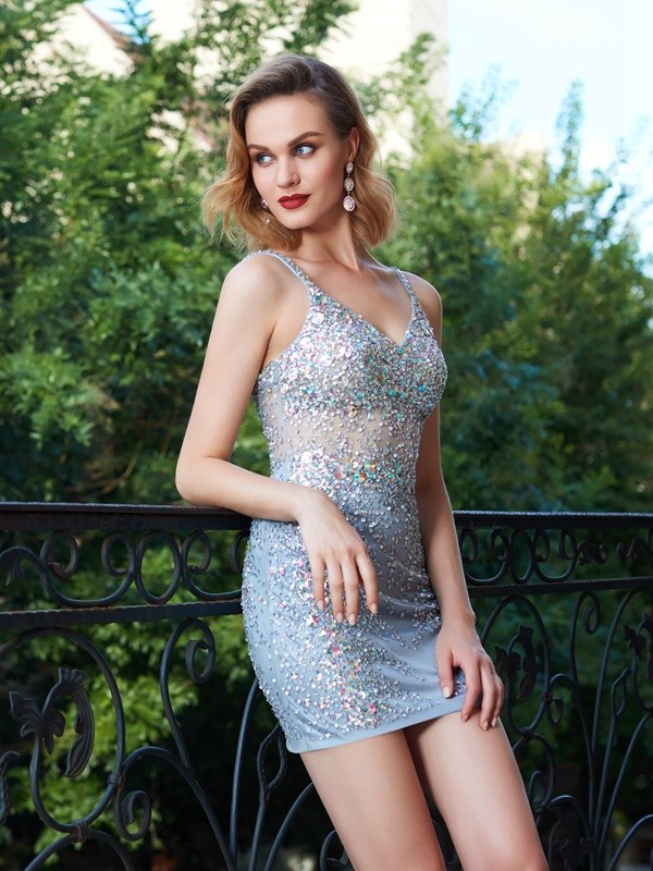 Sheath/Column Spaghetti Straps Sleeveless Net Sequin Short/Mini Dresses
