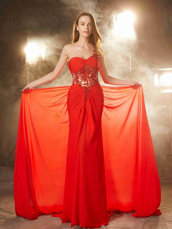 Sheath/Column One-Shoulder Sleeveless Sweep/Brush Train Beading Chiffon Dresses