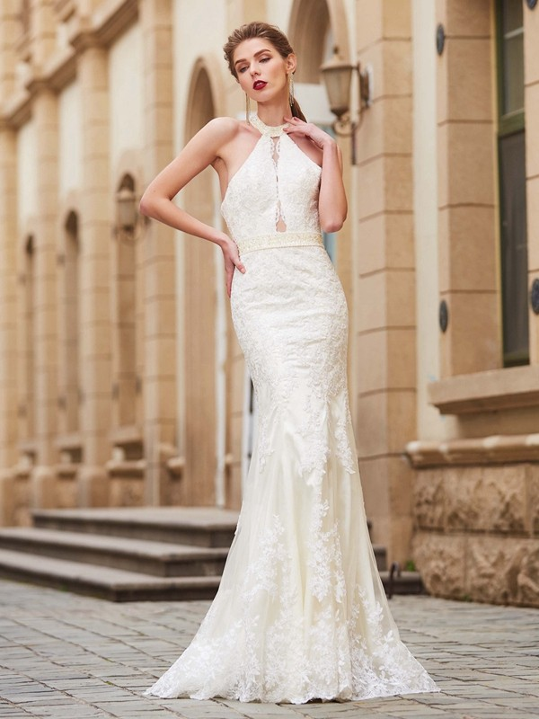 Sheath/Column Jewel Sleeveless Floor-Length Applique Lace Dresses