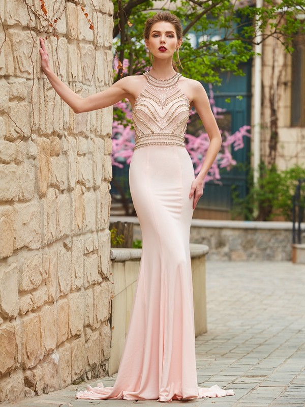 Sheath/Column Scoop Sleeveless Sweep/Brush Train Beading Spandex Dresses