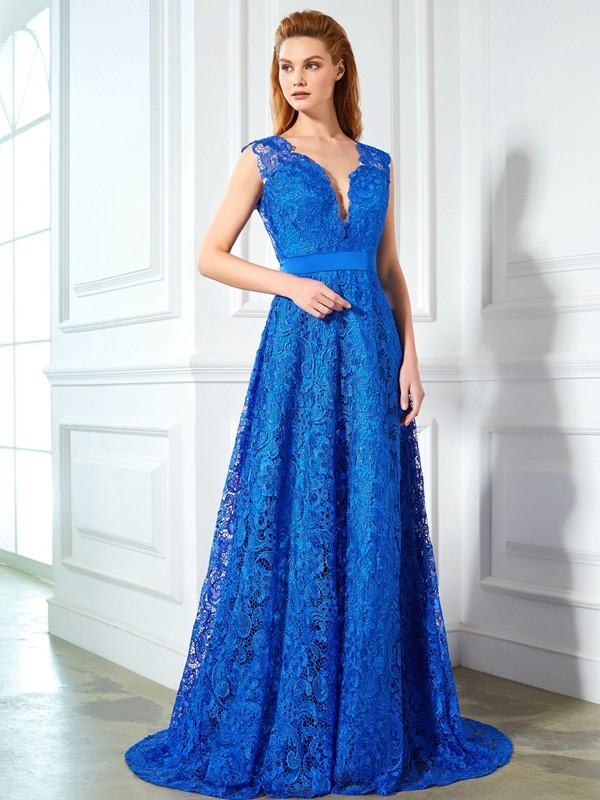 A-Line/Princess V-neck Sleeveless Sweep/Brush Train Bowknot Lace Dresses