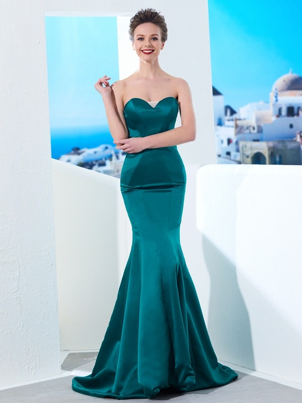 Trumpet/Mermaid Sweetheart Sleeveless Ruched Sweep/Brush Train Satin Dresses