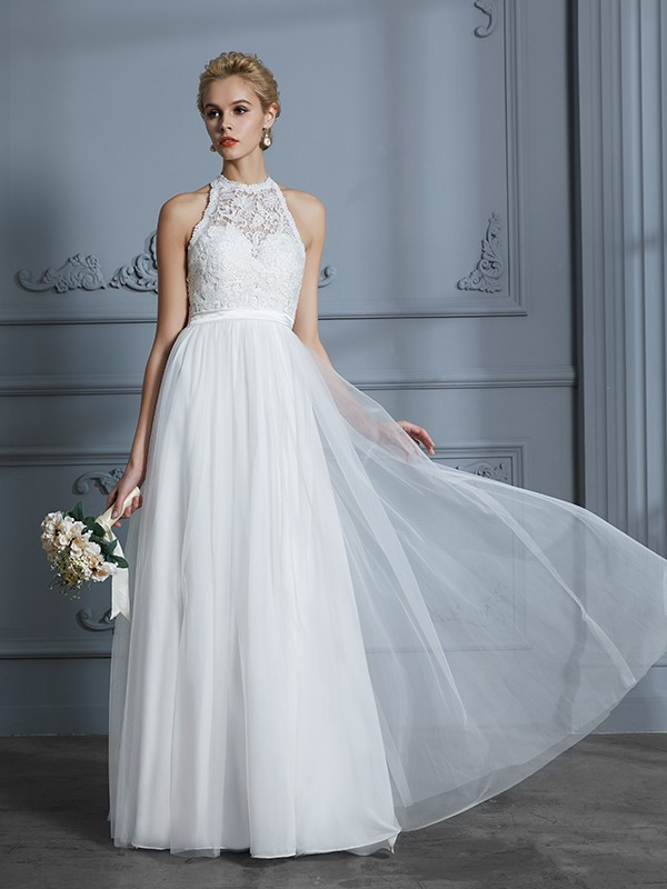 A-Line/Princess Scoop Sleeveless Tulle Floor-Length Wedding Dresses