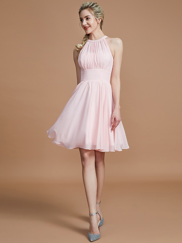 A-Line Chiffon Knee-Length Sleeveless Scoop Bridesmaid Dresses