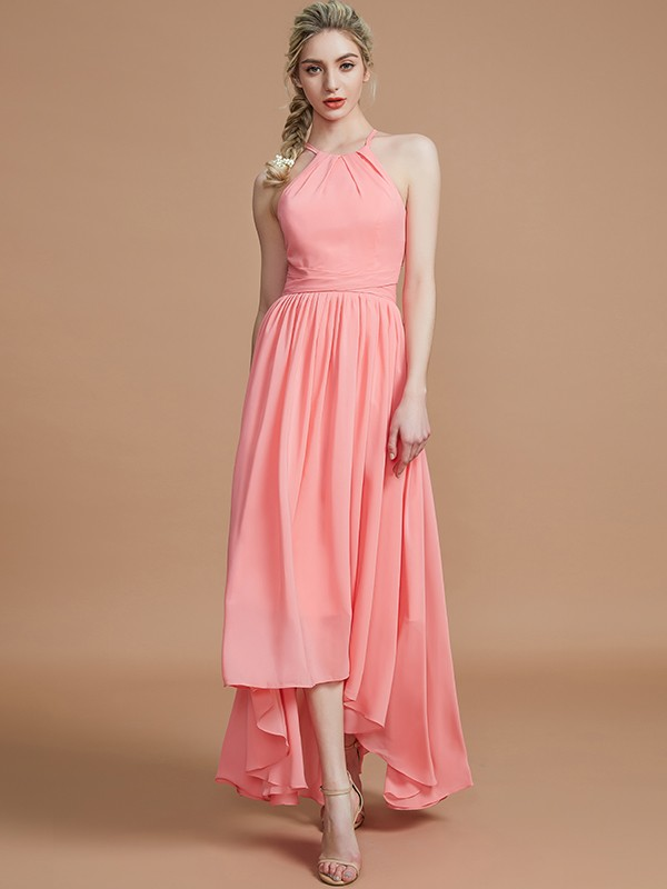A-Line Halter Asymmetrical Sleeveless Chiffon Bridesmaid Dresses