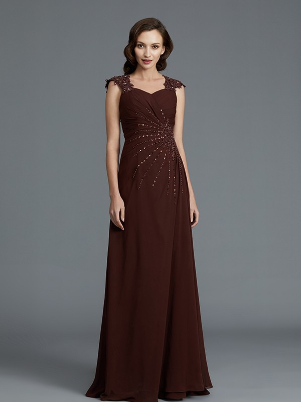 A-Line Sweetheart Sleeveless Chiffon Floor-Length Beading Mother of the Bride Dresses