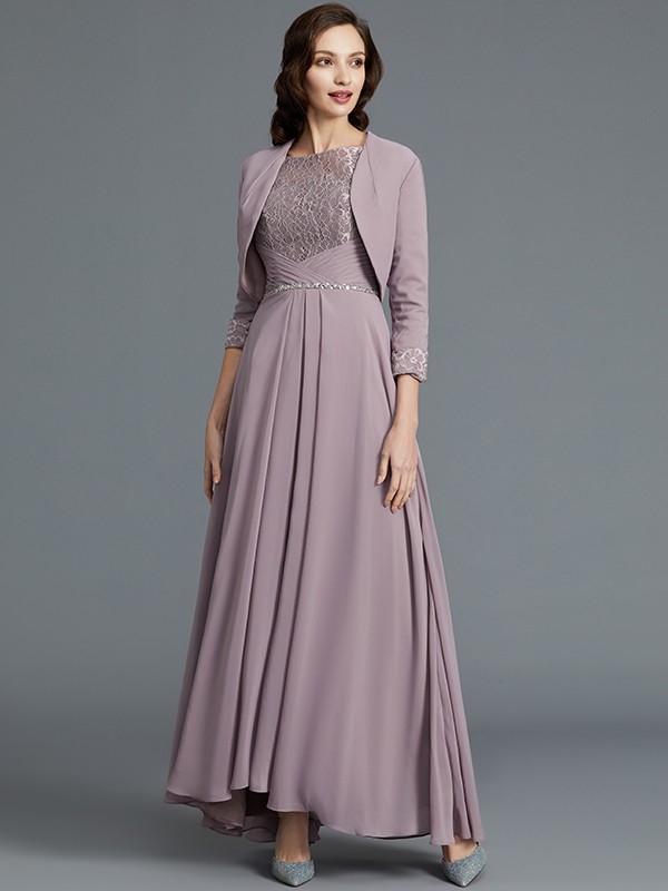 A-Line 1/2 Sleeves Scoop Asymmetrical Chiffon Mother of the Bride Dresses