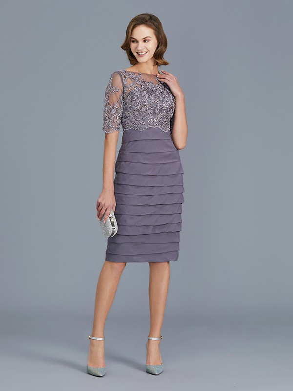 Sheath Scoop Chiffon 1/2 Sleeves Knee-Length Mother of the Bride Dress