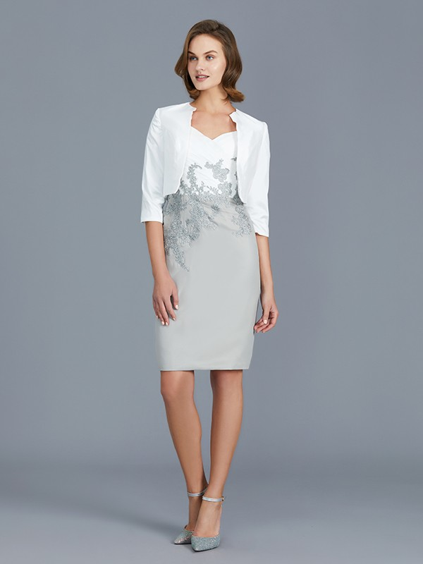 Sheath V-neck 1/2 Sleeves Chiffon Knee-Length Mother of the Bride Dress