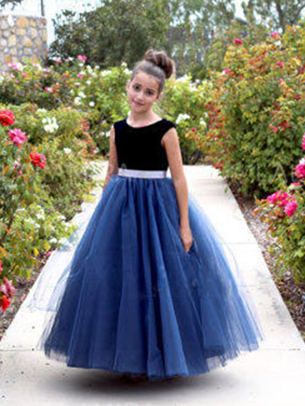 A-Line Sleeveless Scoop Ankle-Length Sash/Ribbon/Belt Tulle Flower Girl Dresses