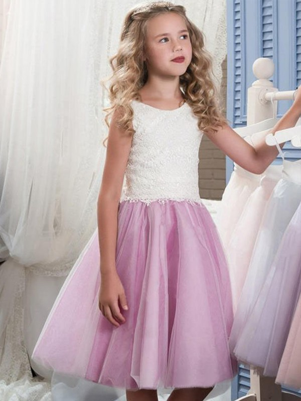 A-Line Sleeveless Scoop Knee-Length Lace Tulle Flower Girl Dresses