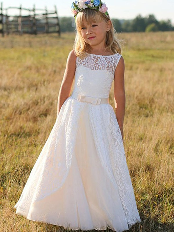 A-Line Sleeveless Scoop Floor-Length Sash/Ribbon/Belt Lace Flower Girl Dresses