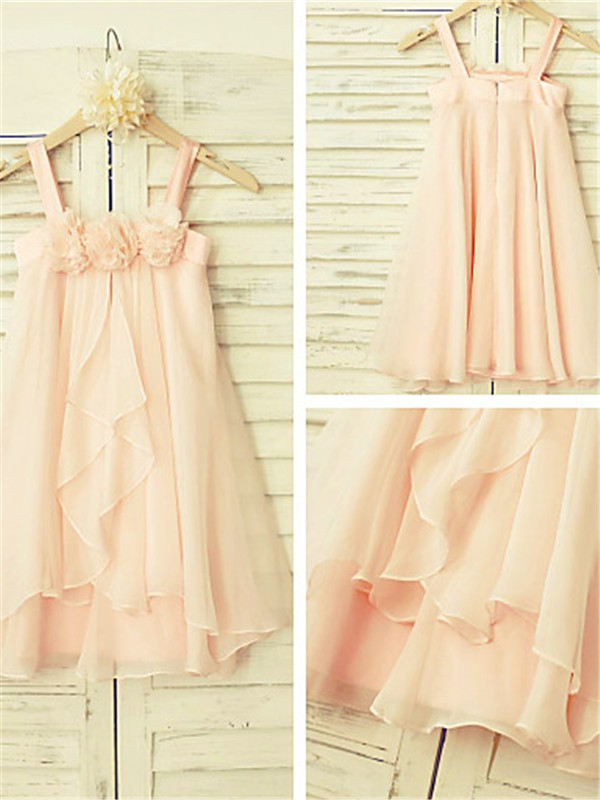 A-line Spaghetti Straps Sleeveless Tea-Length Chiffon Flower Girl Dress