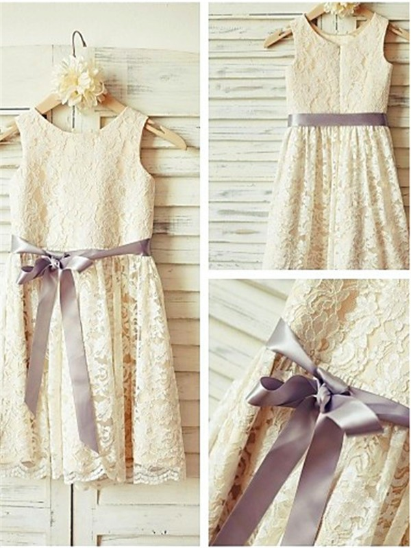 A-line Scoop Sleeveless Tea-Length Lace Flower Girl Dress