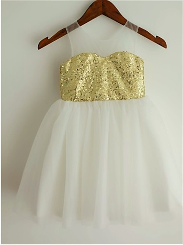 Princess Scoop Tea-Length Tulle Flower Girl Dress